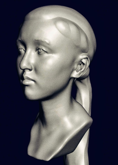 3D model from scan, eyes and hair refined in software