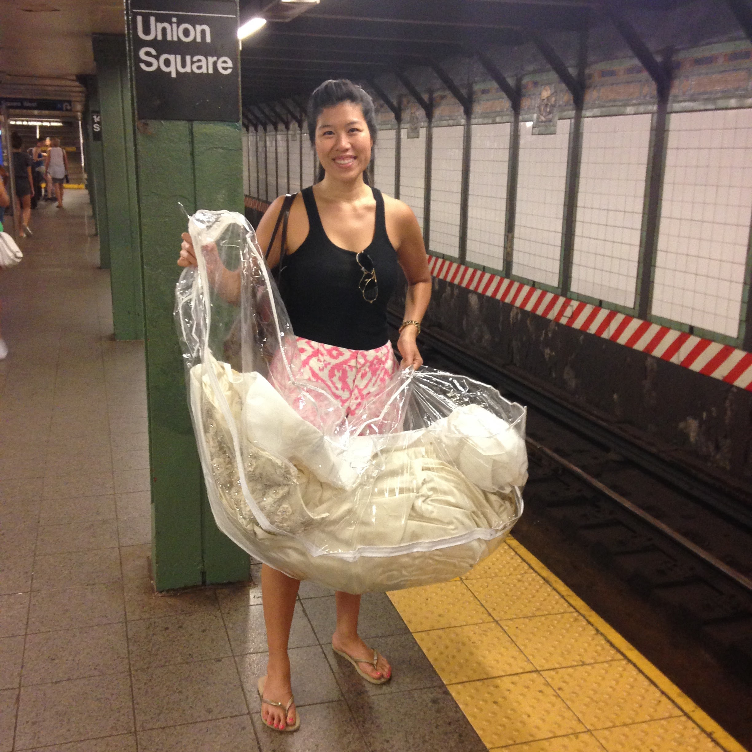 Jacquelyn getting dresses from around NYC for popup.JPG