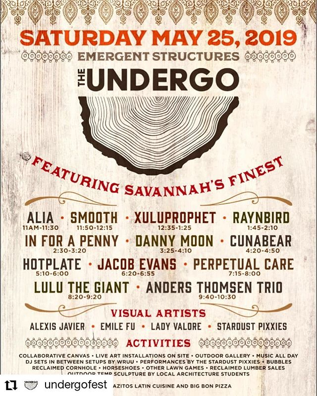 I'm so stoked to be playing this festival on May25!!! Free show!!!! #Repost @undergofest • • • • • • For your viewing pleasure... All Local All Love Free outdoor performing and visual arts festival hosting Savannah's finest 2302 E Gwinnett St. Savannah GA 31404 Next Saturday🙌🏽 Did we mention it's FREE See you at The UnderGo... #savannahmusicians #savannahartists #supportlocal #visitsavannah#Reggaemusic #reggae #free #freeshow #music #musicianlife