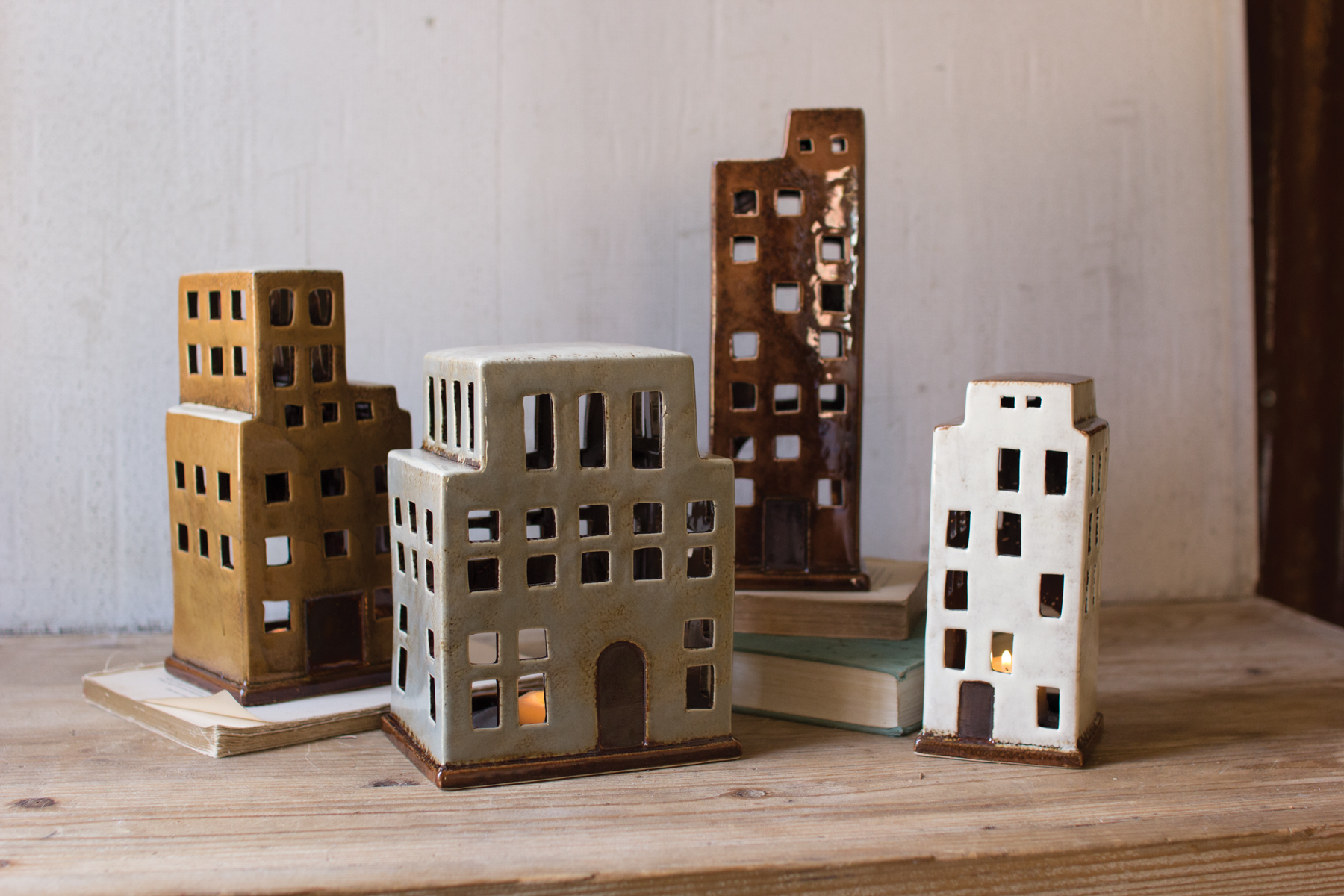 Ceramic Building Candle Holders - white sold out .