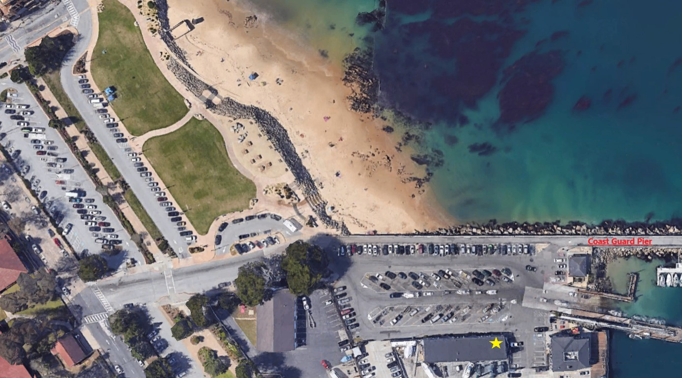 Marked is the Coast Guard Pier and our location. We are located right next to San Carlos Beach one of the best dive sites in Central California!