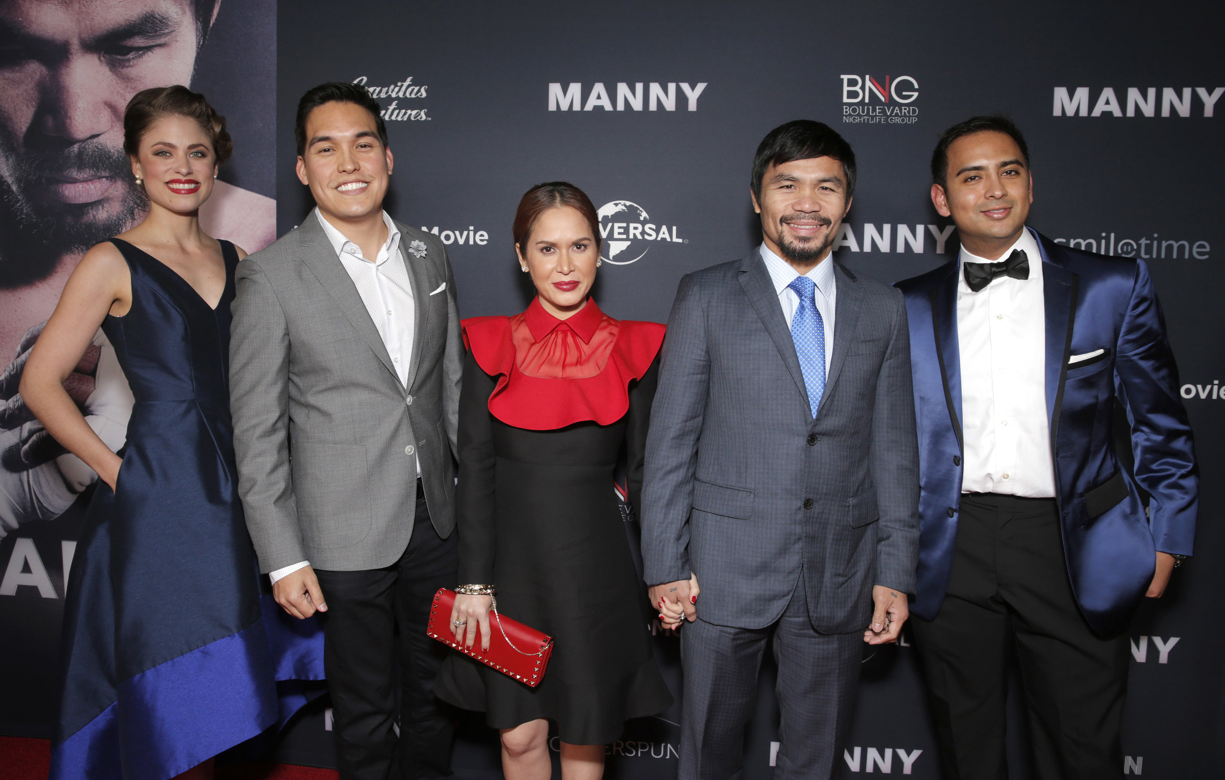 "Sara Moore, Ryan Moore, Jinkee Pacquiao and Manny Pacquiao at the premiere of ""MANNY"" at TCL Chinese Theater January 2015"
