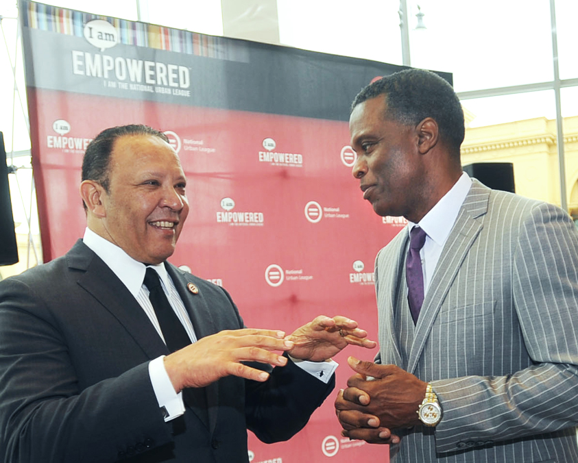 National Urban League President and CEO Marc Morial (left) and Al Smith of Toyota talk during a NUL press conference, this month. During the NUL Awards Gala, Toyota announced the newly established John W. Mack Scholarship Fund to be administered through the National Urban League. (Toyota)