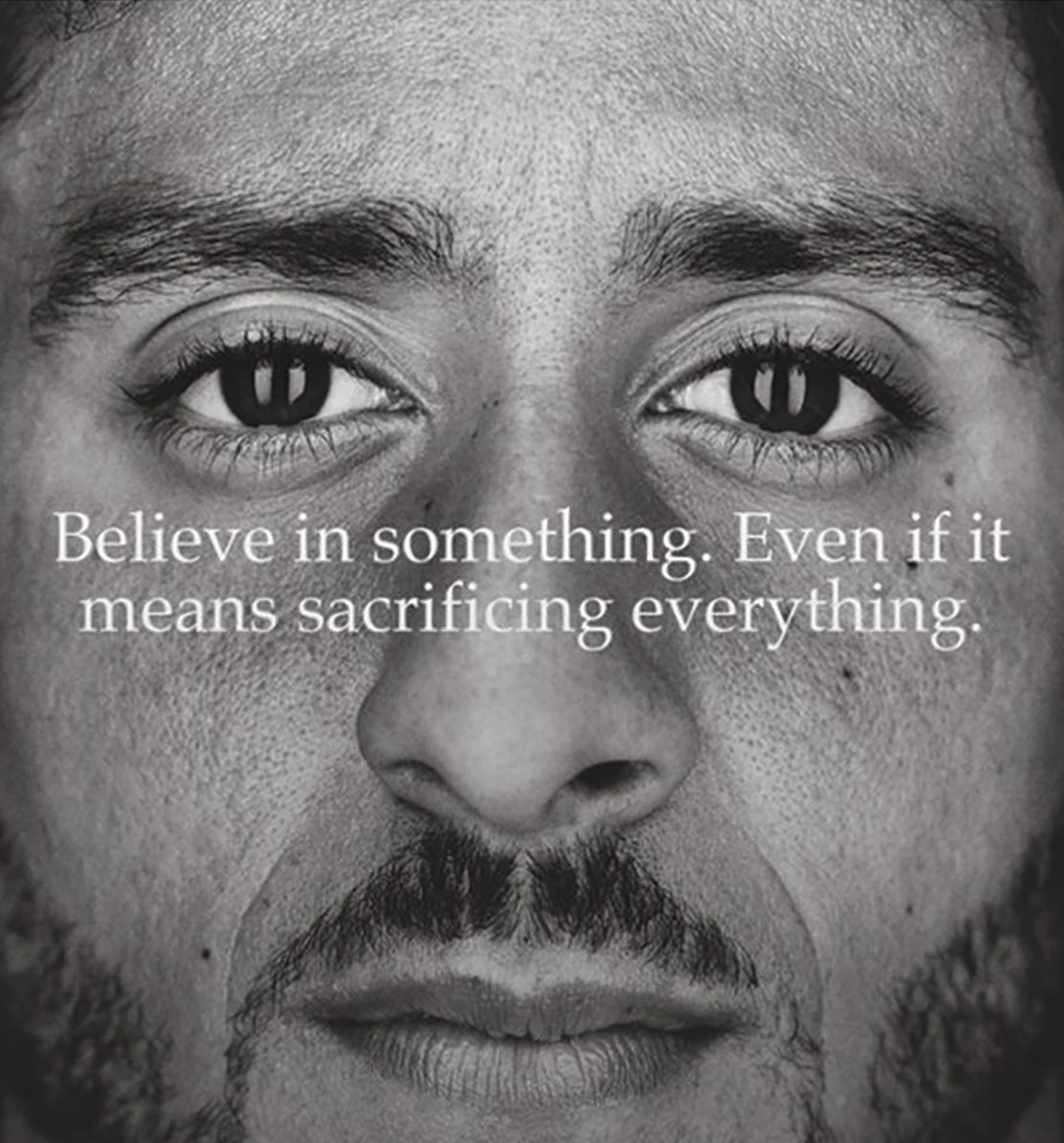 This image taken from the Twitter account of the former National Football League player Colin Kaepernick shows a Nike advertisement featuring him that was posted Monday, Sept. 3, 2018. (Twitter via AP)