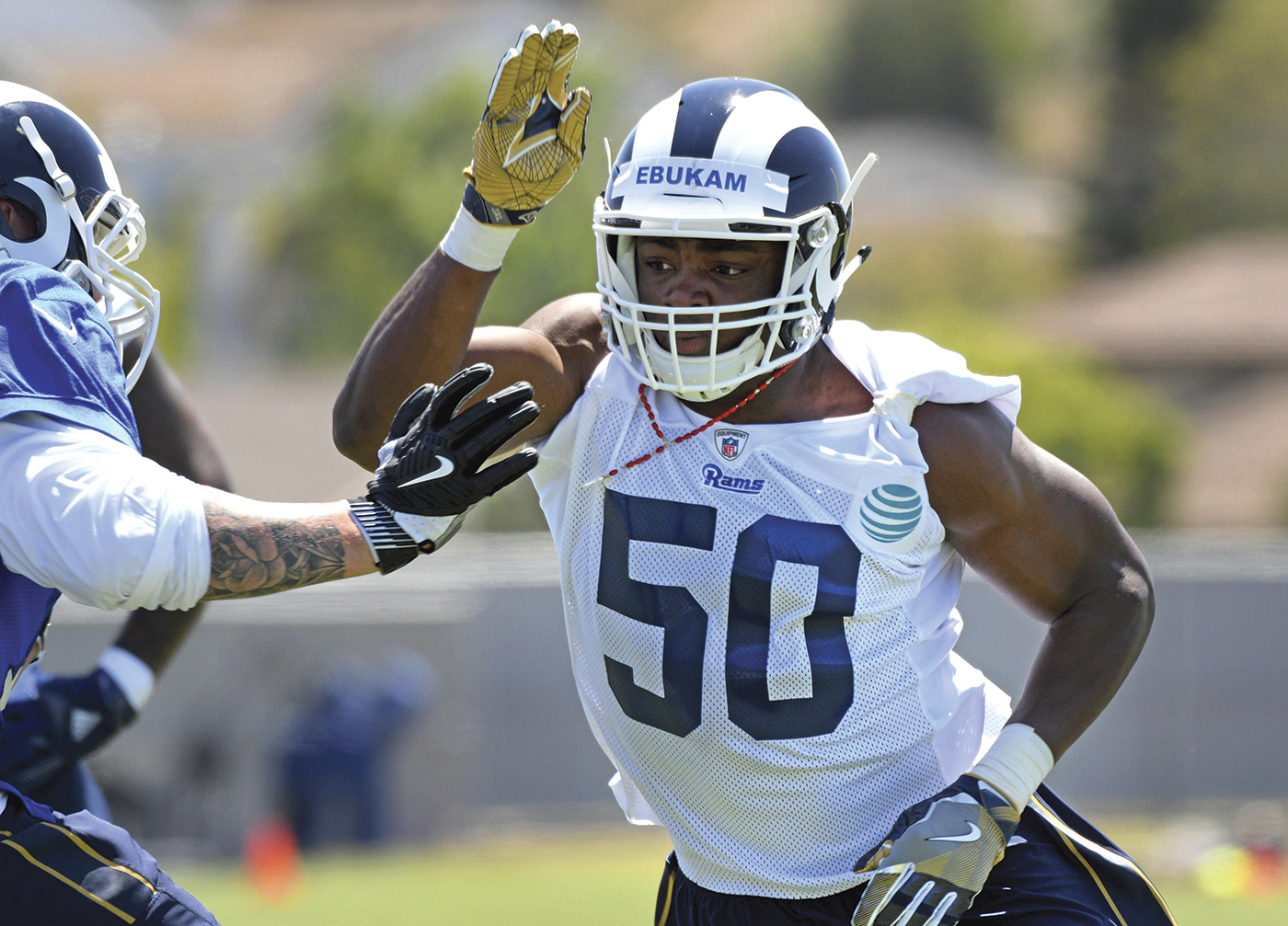 Los Angeles Rams linebacker Samson Ebukam (50) rushes a lineman during NFL football rookie minicamp at the team's practice facility in Thousand Oaks, Calif., Friday, May 12, 2017. (Michael Owen Baker / Associated Press)