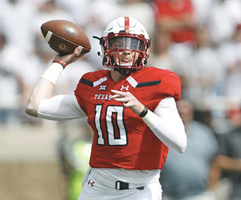 Alan Bowman of Texas Tech set a Big12 Freshman record with 605 yards passing. (AP courtesy photo)