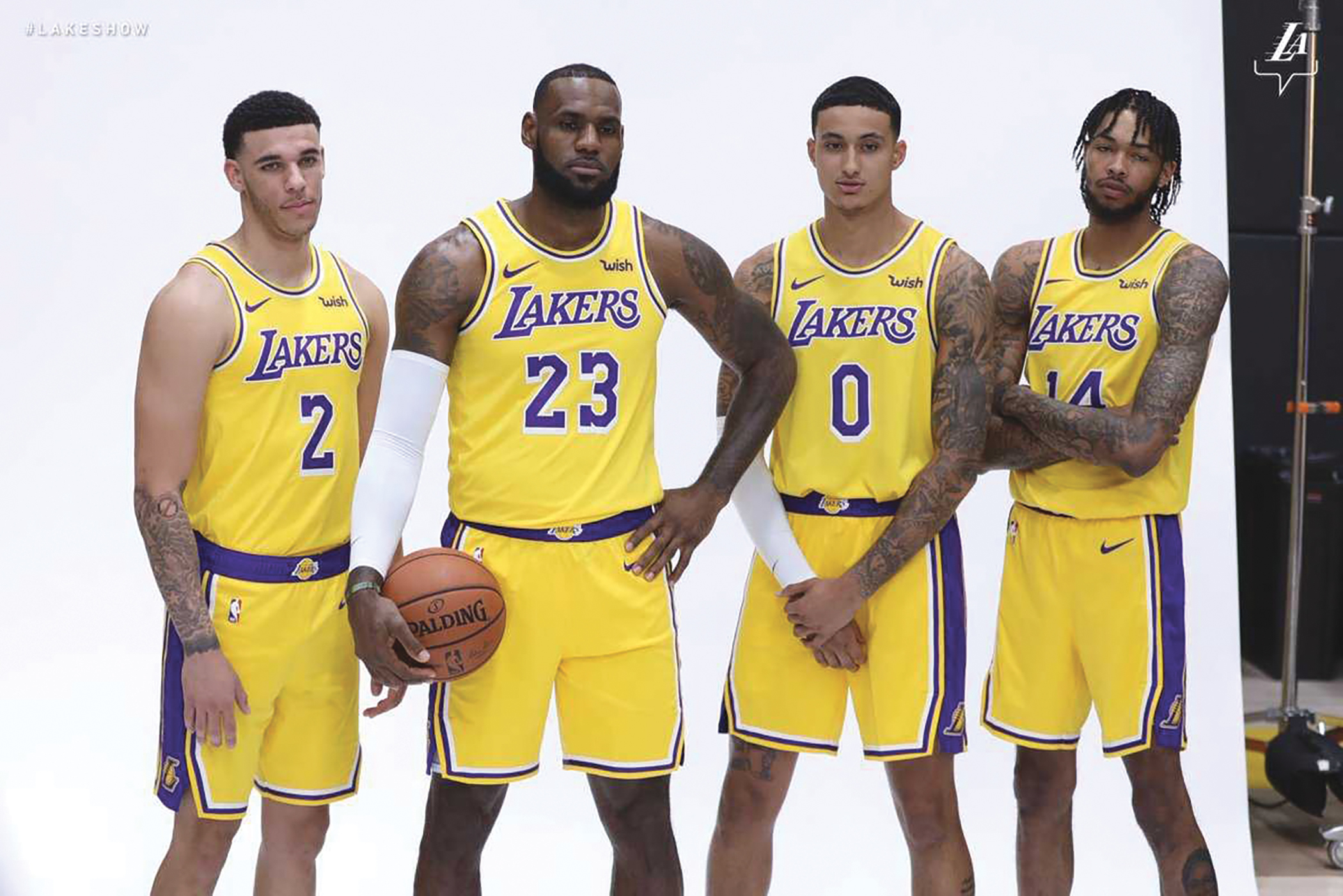 Lonzo Ball, LeBron James, Kyle Kuzma and Brandon Ingram pose for photos during Lakers media day. (Photo: @lakers)