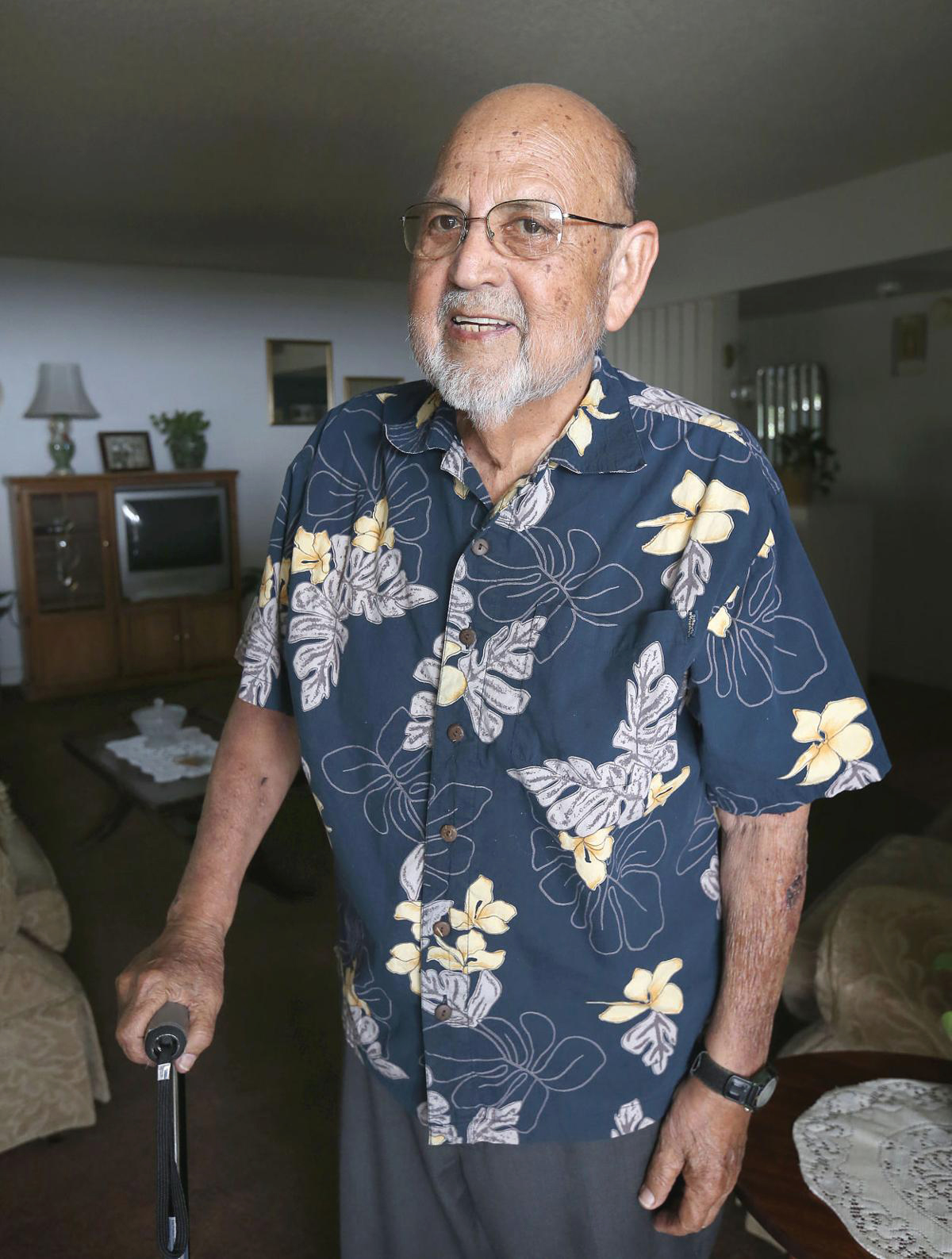 Ray Gonzales in his home in Bakersfield. (Henry A. Barios / The Californian)