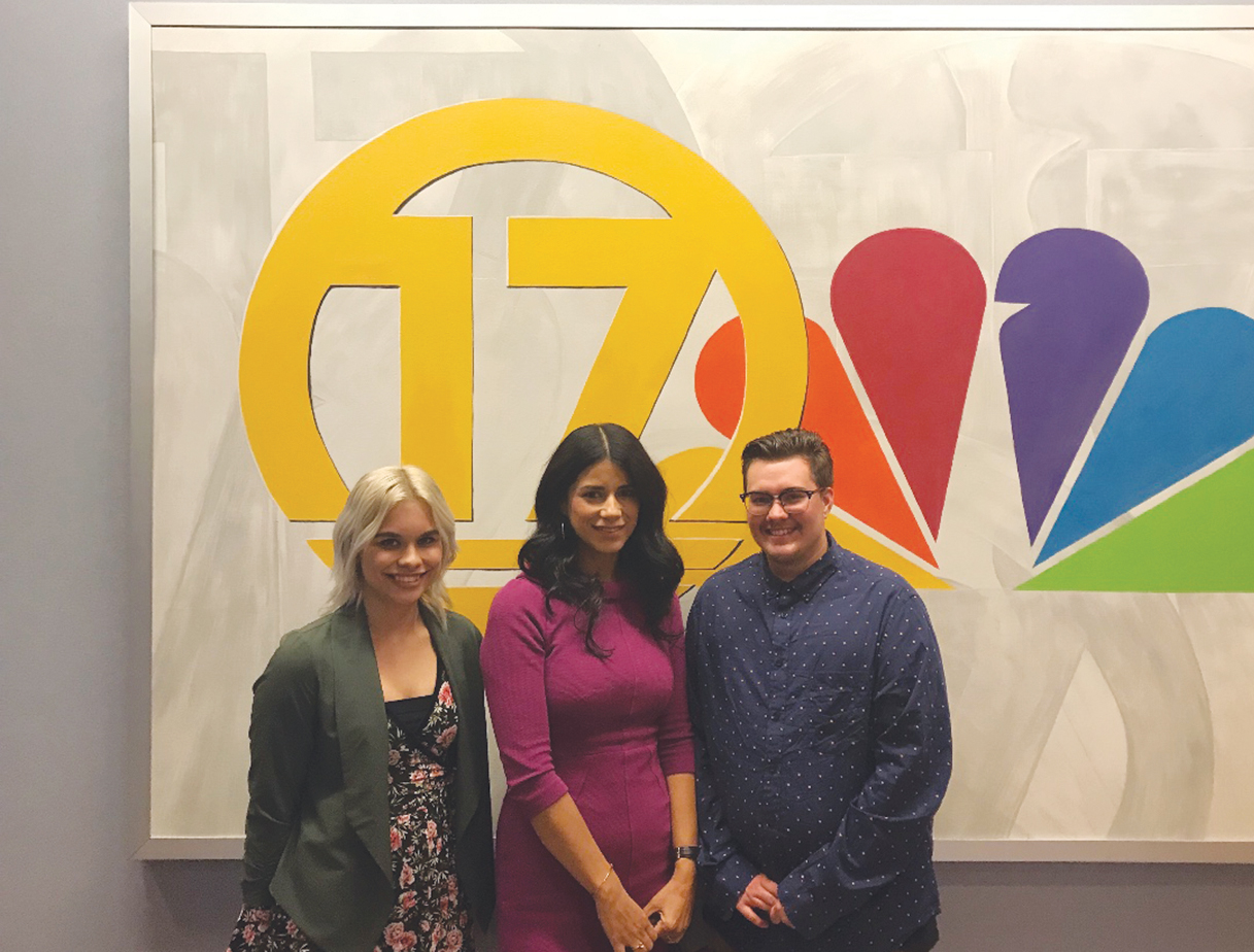 """Reyna Olaguez with two former South Kern Sol reporters at KGET studios to film """"In the 661."""" (South Kern Sol courtesy photo)"""