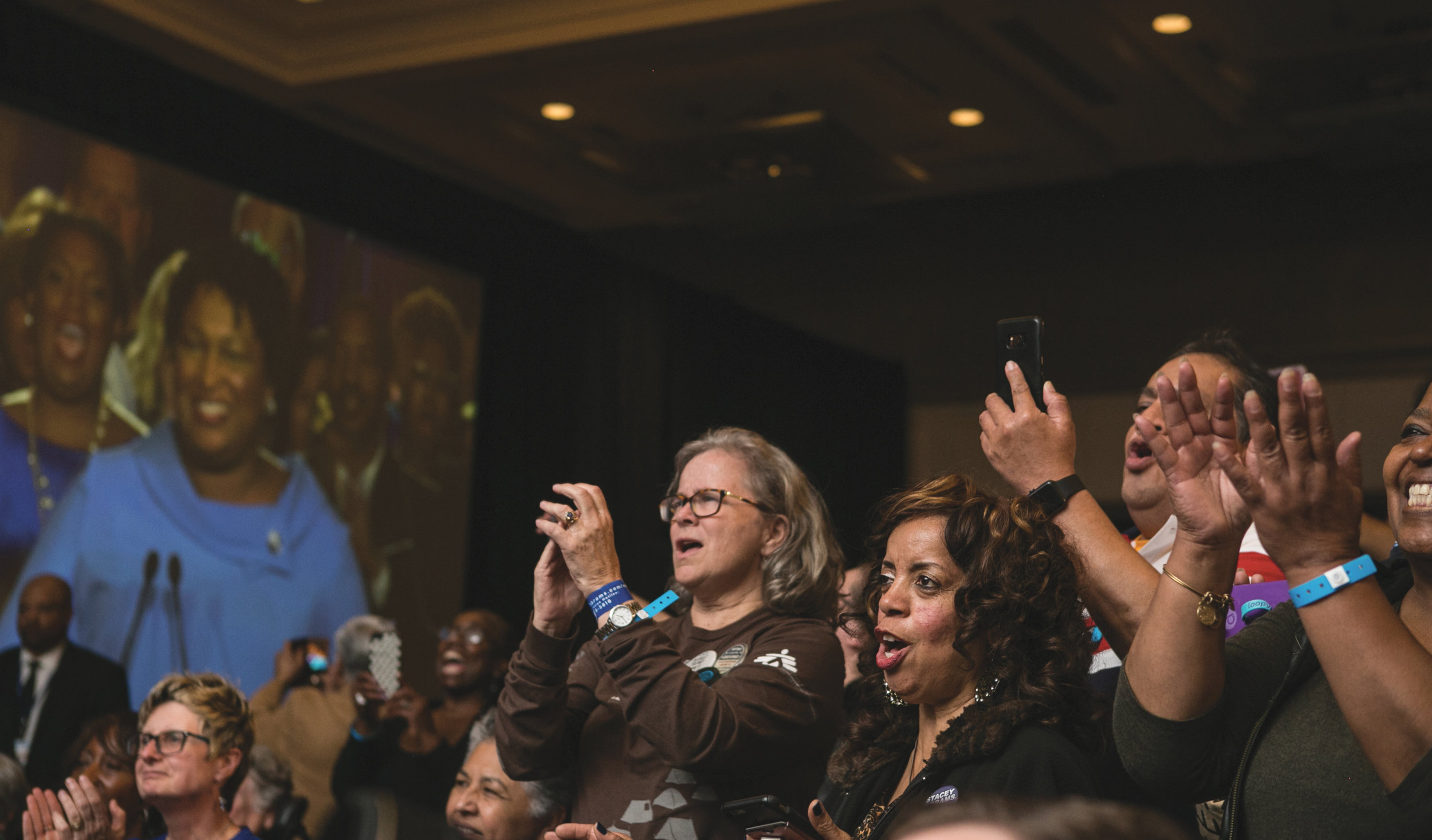Supporters cheer for Democratic Gubernatorial candidate Stacey Abrams as se addresses the crowd at an election watch party on November 6, 2018 in Atlanta, Georgia. Abrams and her opponent, Republican Brian Kemp, are in a tight race that is too close to call. A runoff for Georgia's governor is likely. (Photo: Jessica McGowan/Getty Images)