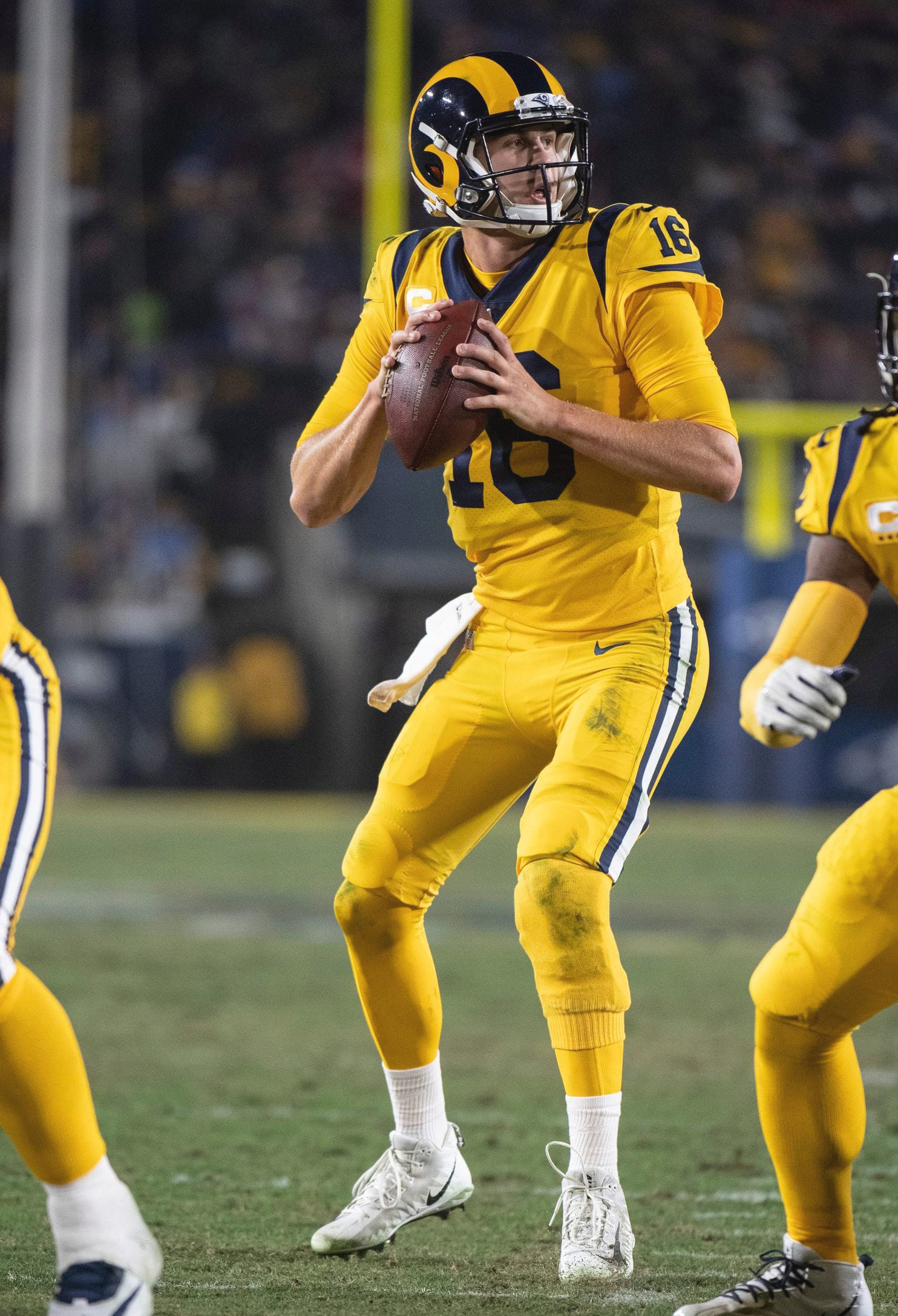 Jared Goff led the Rams to a win in the first-ever NFL game in which each team scored at least 50 points. (AP Photo/Kyusung Gong)