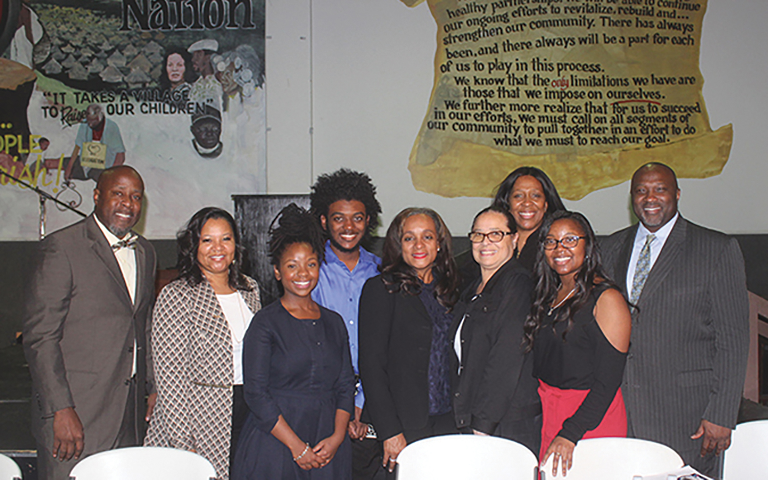 ESSA Houston Black Parents' Town Hall participants – Larry McKinzie, Monica Riley, Lynette Monroe, Treyvon Waddy, Rhonda Skillern-Jones, Dr. Elizabeth Primas, Forward Times Publisher/CEO Karen Carter Richards, Chirelle Riley and Jeffrey L. Boney (Jeffrey L. Boney photo)