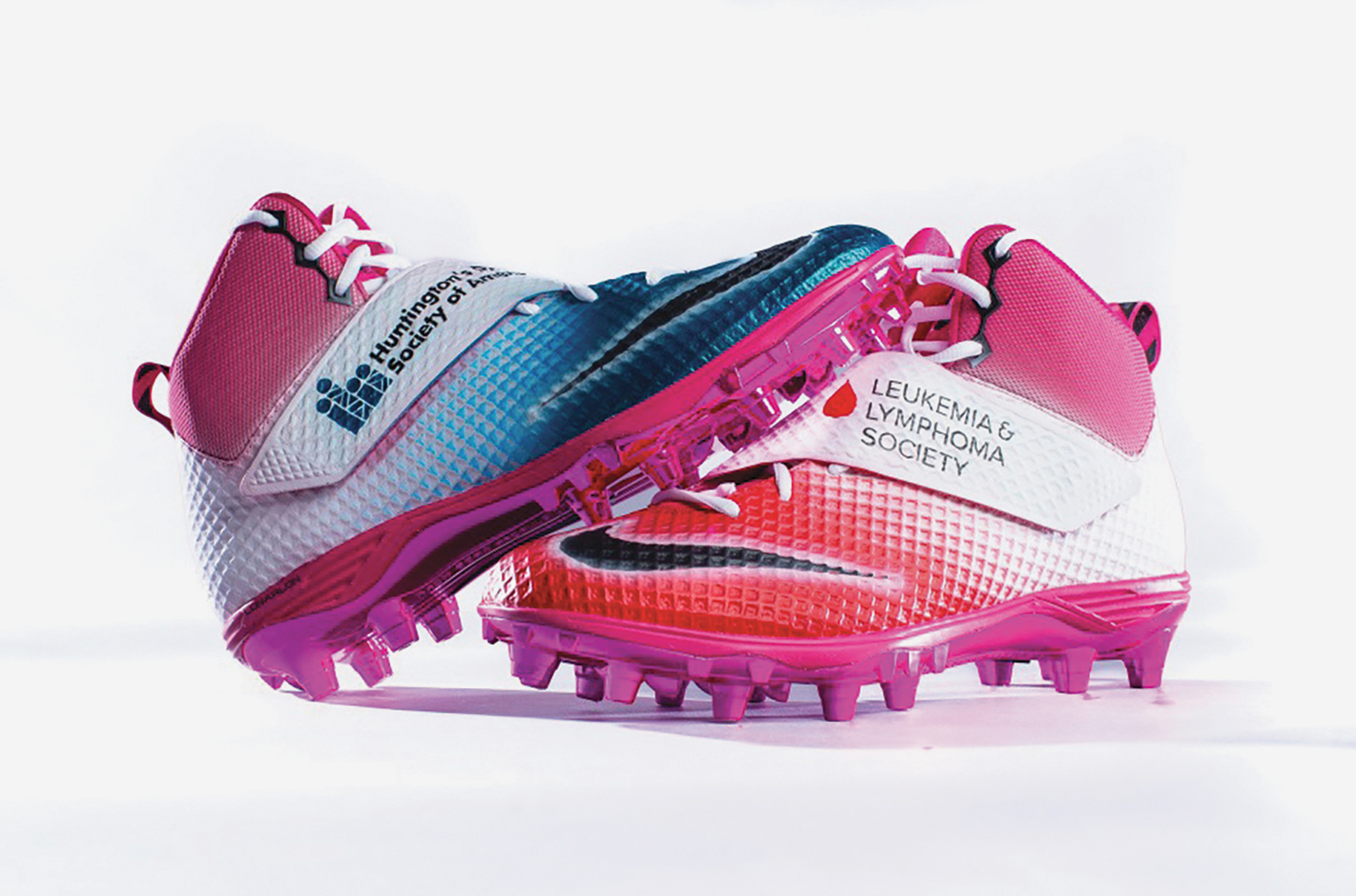 Rams DT Aaron Donald chose to represent Huntington's Disease Society of America; The Leukemia & Lymphoma Society with his cleats. (Rams wire courtesy photo)