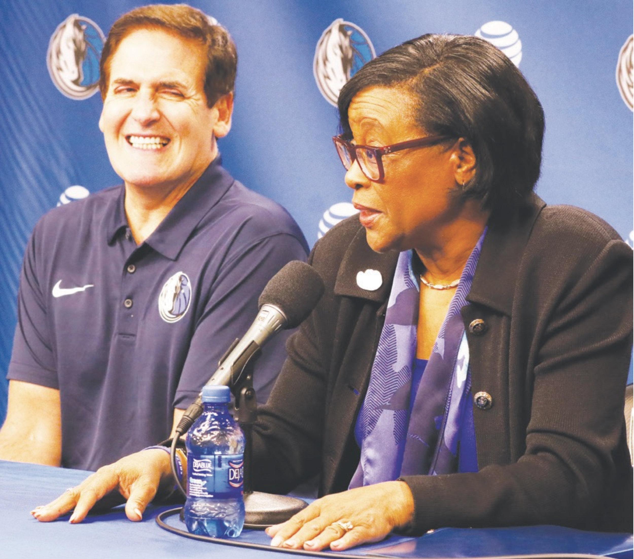 Cynthia Marshall and Mark Cuban at her introductory press conference. (Dallas Mavericks courtesy photo)
