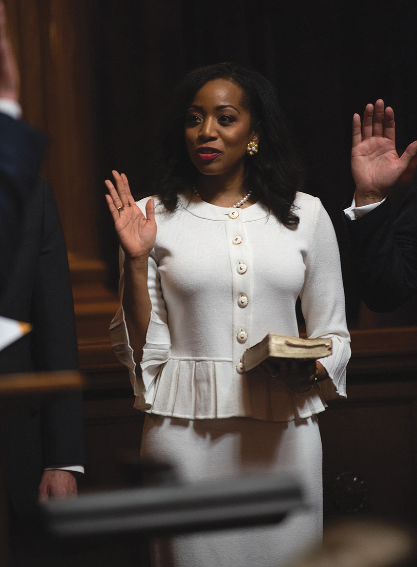 Malia Cohen being sworn into the State Board of Equalization by Gov. Gavin Newsom and is the first African American women elected to the board. She represents Northern California. (Photo By: Robert Maryland, California Black Media)