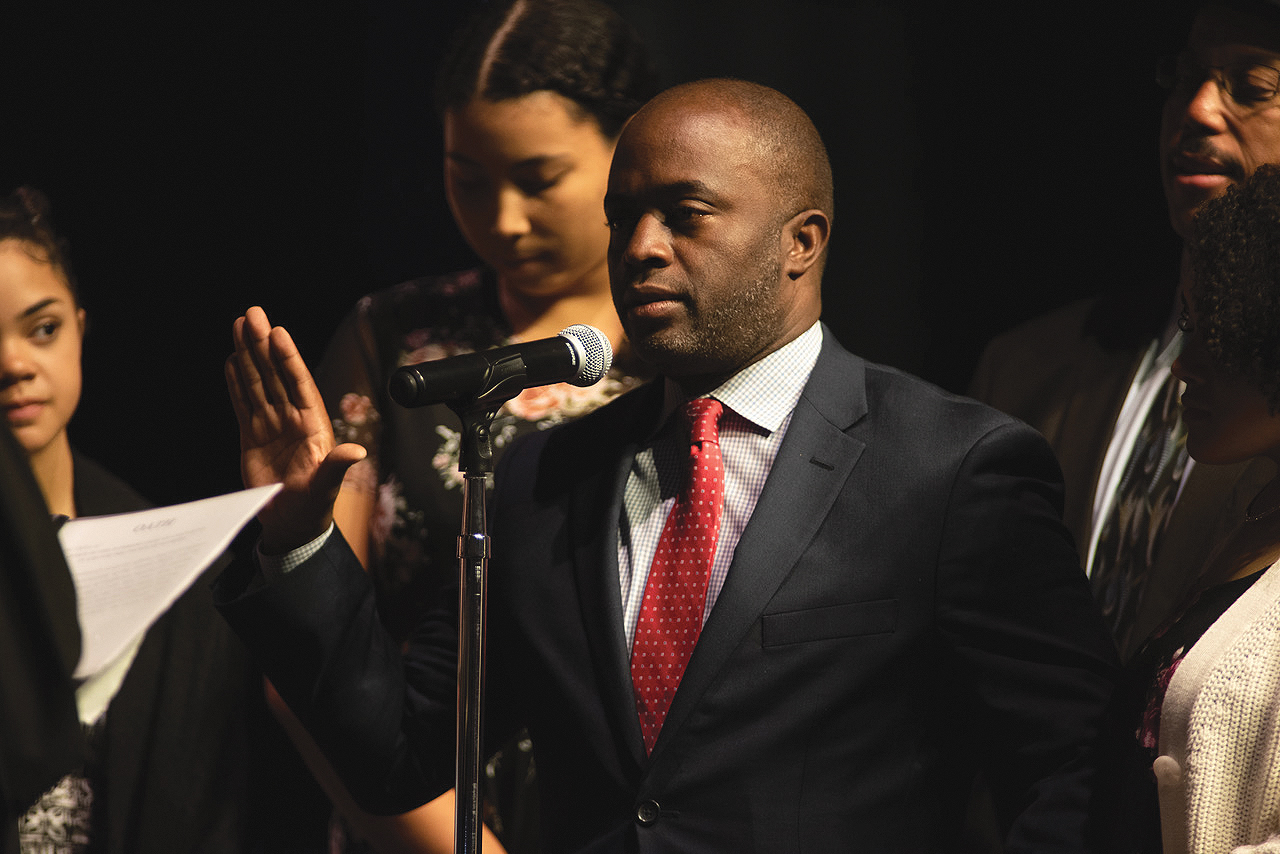 State Superintendent of Public Instruction Tony Thurmond was sworn in on Monday surrounded by his daughters and family as the states first Afro-Latino and second African American to hold the position. (Photo: Robert Maryland, California Black Media)