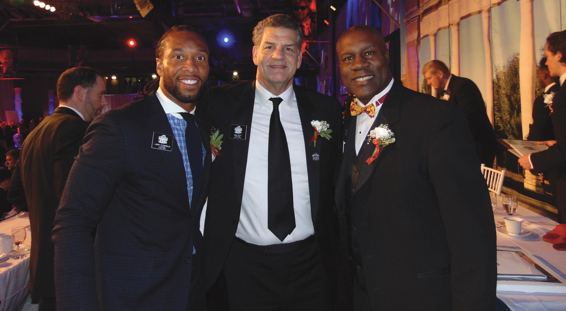 "L to R-Larry Fitzgerald- ""WC-Alumni Award Winner,"" Mike Golic -""WC-Man of the Year"" and David Fulcher WC President of Alumni Association. (Earl Heath photo)"