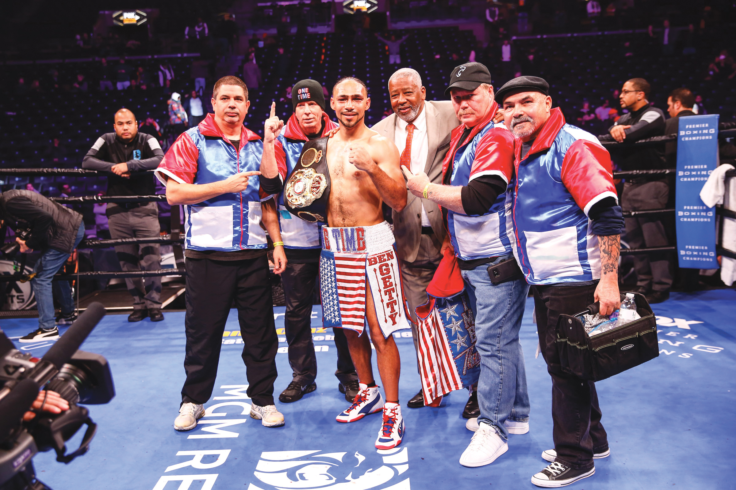 Team Thurman celebrate after their victory over Lopez on Saturday at Barclays Center in Brooklyn, NY. (Photo Credit to Stephanie Trapp/ TGB Promotions)