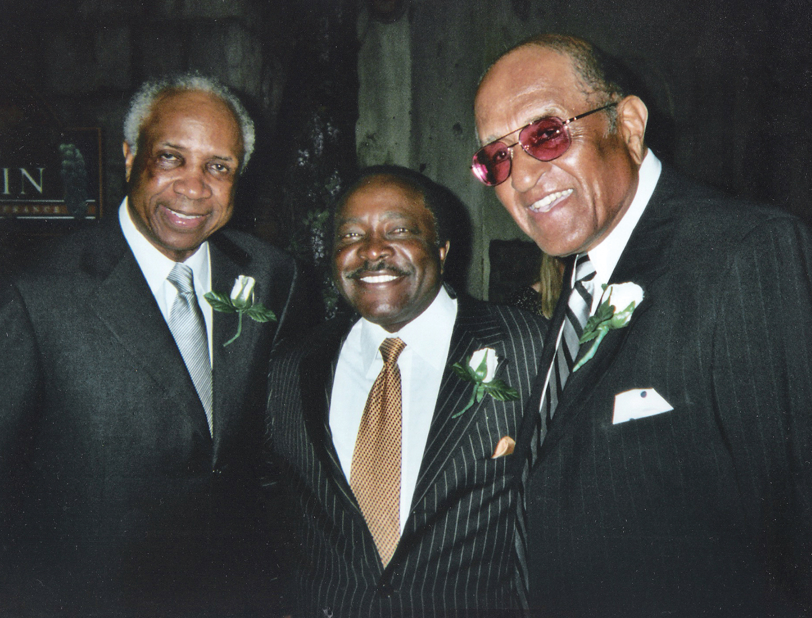 Frank Robinson (left) shares a moment with Joe Morgan (center) and Don Newcombe (right) at RBI dinner in Los Angeles.(Photo Credit Earl Heath)
