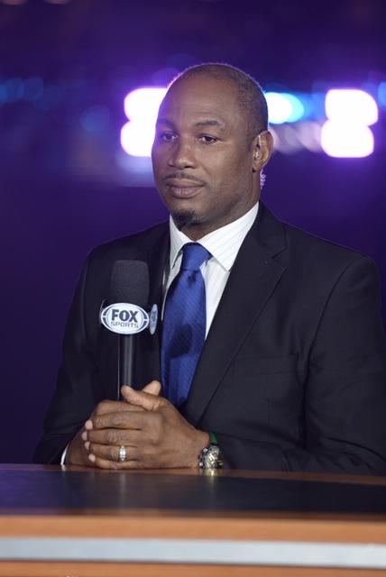 Lennox Lewis on PBC on FOX set (Photo credit FOX Photos)