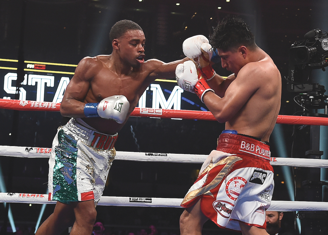 Errol Spence Jr. dominates Mikey Garcia in their IBF World Welterweight Championship on Fox Sports PBC PPV at AT&T Stadium on March 16, 2019 (Photo by Frank Micelotta/Fox Sports/PictureGroup)