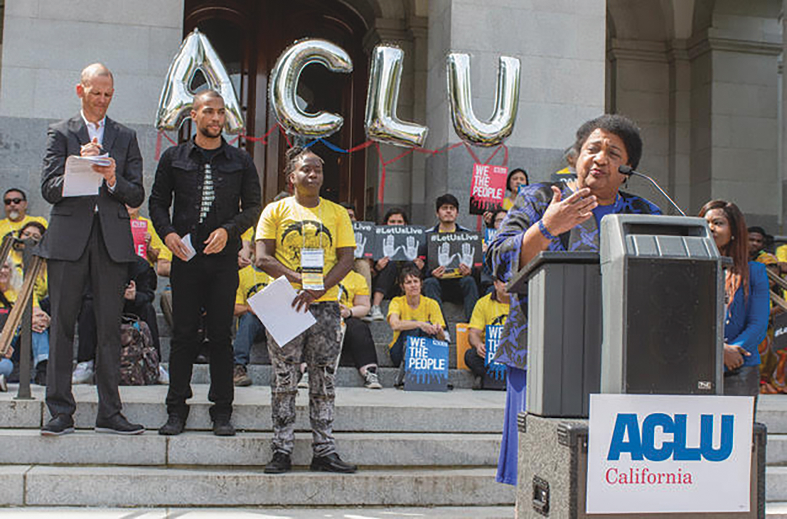 Assemblymember Shirley Weber speaks at a press rally before the police use of force bill AB 392 hearing. (Photo by Russell Stiger Jr.)