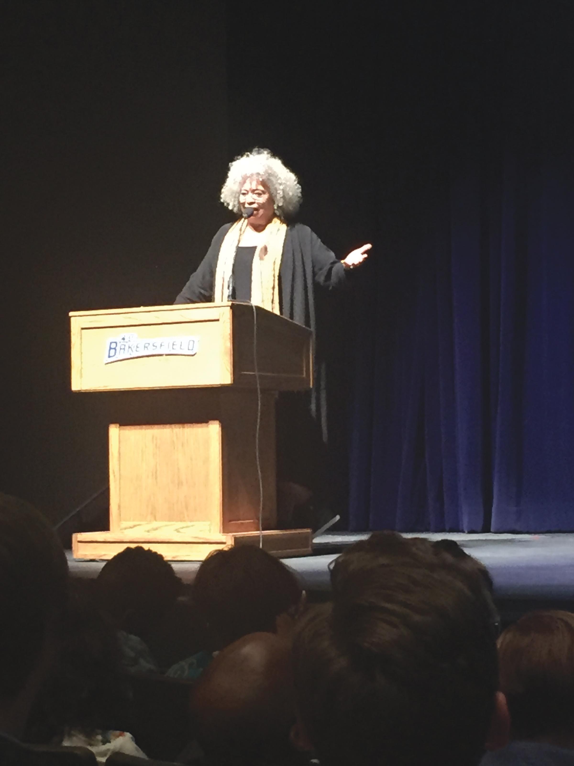 Dr. Angela Davis lecturing At CSUB Dore Theatre (Dr. Joys Frank Randle photo)