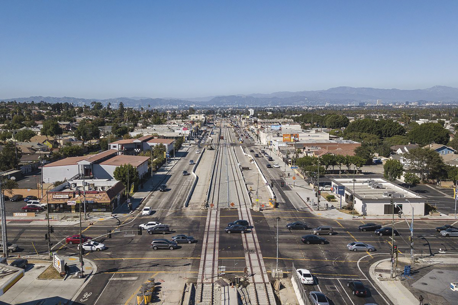 Looking north at the intersection of Crenshaw and Slauson, which will be renamed Nipsey Hussle Square. Out of view on the southwest corner is the strip mall Hussle purchased in February. (Sterling Davis photo)