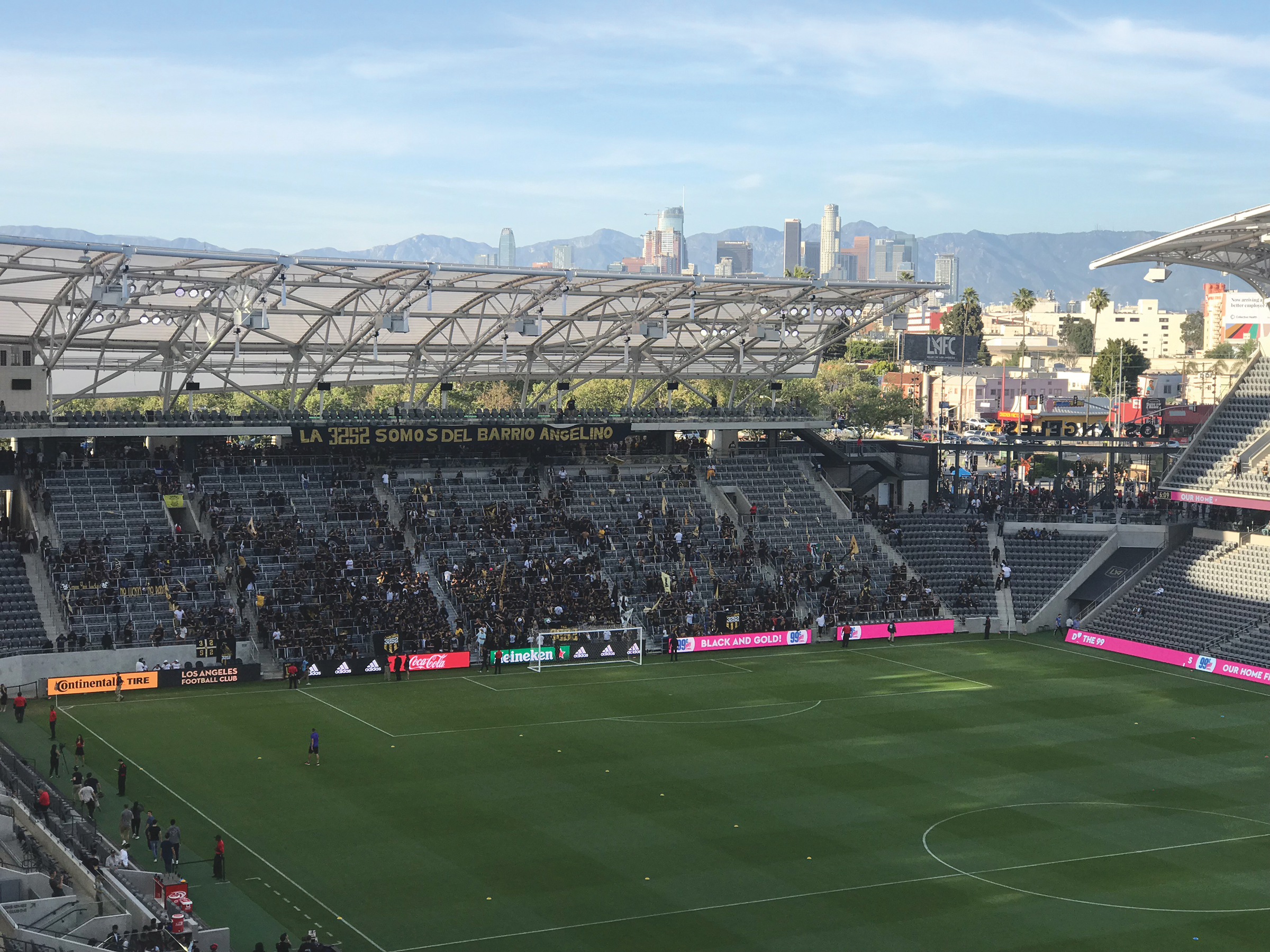 LAFC's group of supporters referred to 3252 arrive early to get a space to celebrate their unbeaten season thus far. (Cameron Buford photo)