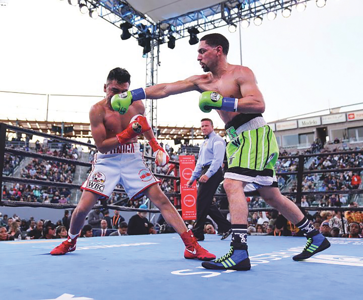 A trio of knockdowns saw Garcia (35-2, 21 KOs) triumph in the WBC Silver welterweight championship bout at Dignity Health Sports Park. (photo by Fox Sports, Leo Wilson, Sean Ham)