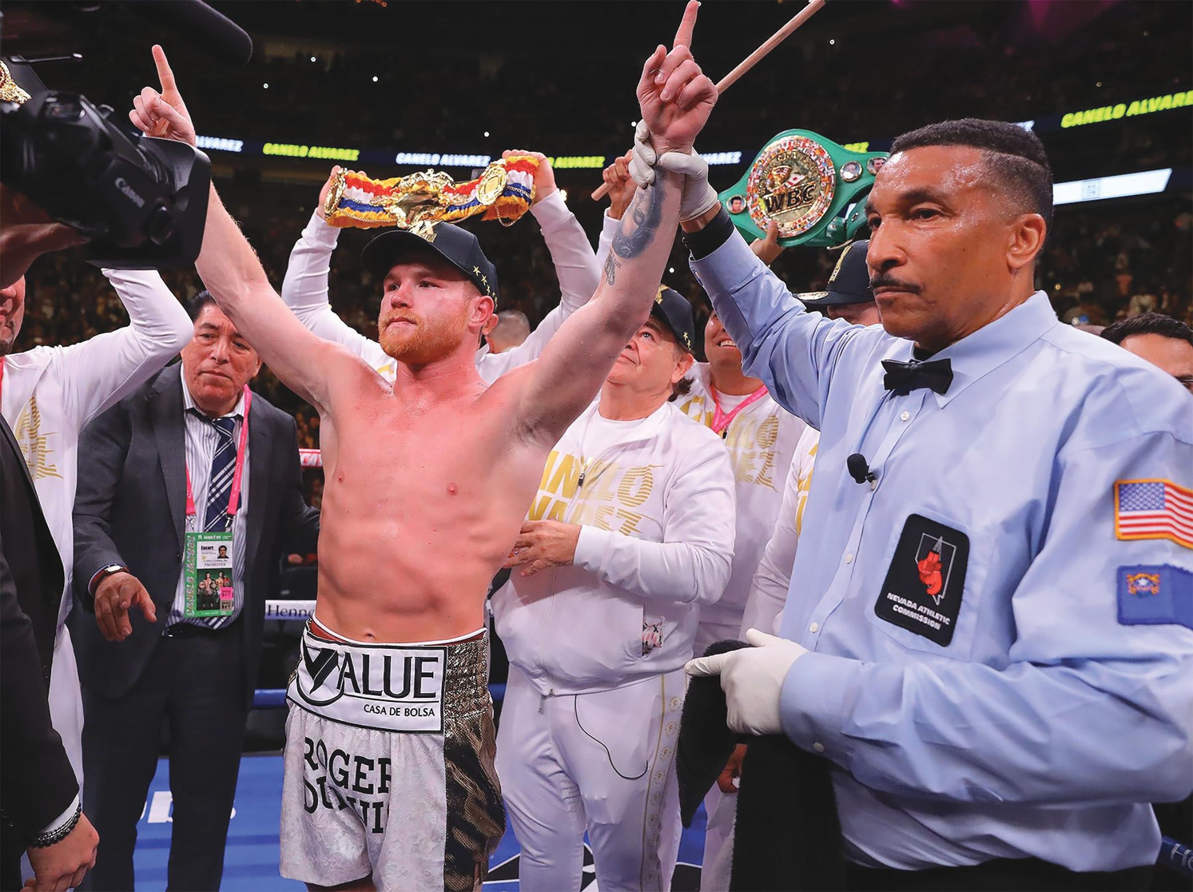 "Saul ""Canelo"" Alvarez victorious on Saturday night against Danny Jacobs. (Photo Credit: Tom Hogan- HoganPhotos/ Golden Boy)"