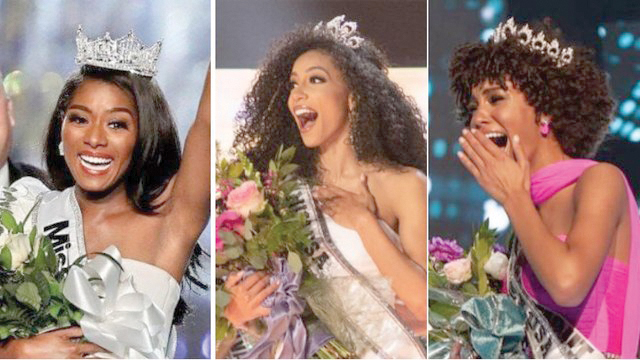 The winners crowned 2019's Miss America, Miss USA and Miss Teen USA are all black women for the first time in pageant history. Cheslie Kryst, a lawyer from North Carolina, completed the historic triple on Thursday after she won the Miss USA title. Kaliegh Garris, a high school senior from Connecticut who is planning to pursue a career in nursing, was crowned Miss Teen USA on Sunday. And Nia Franklin, the Miss America 2019 from New York, won her title in a September competition. (courtesy photo)