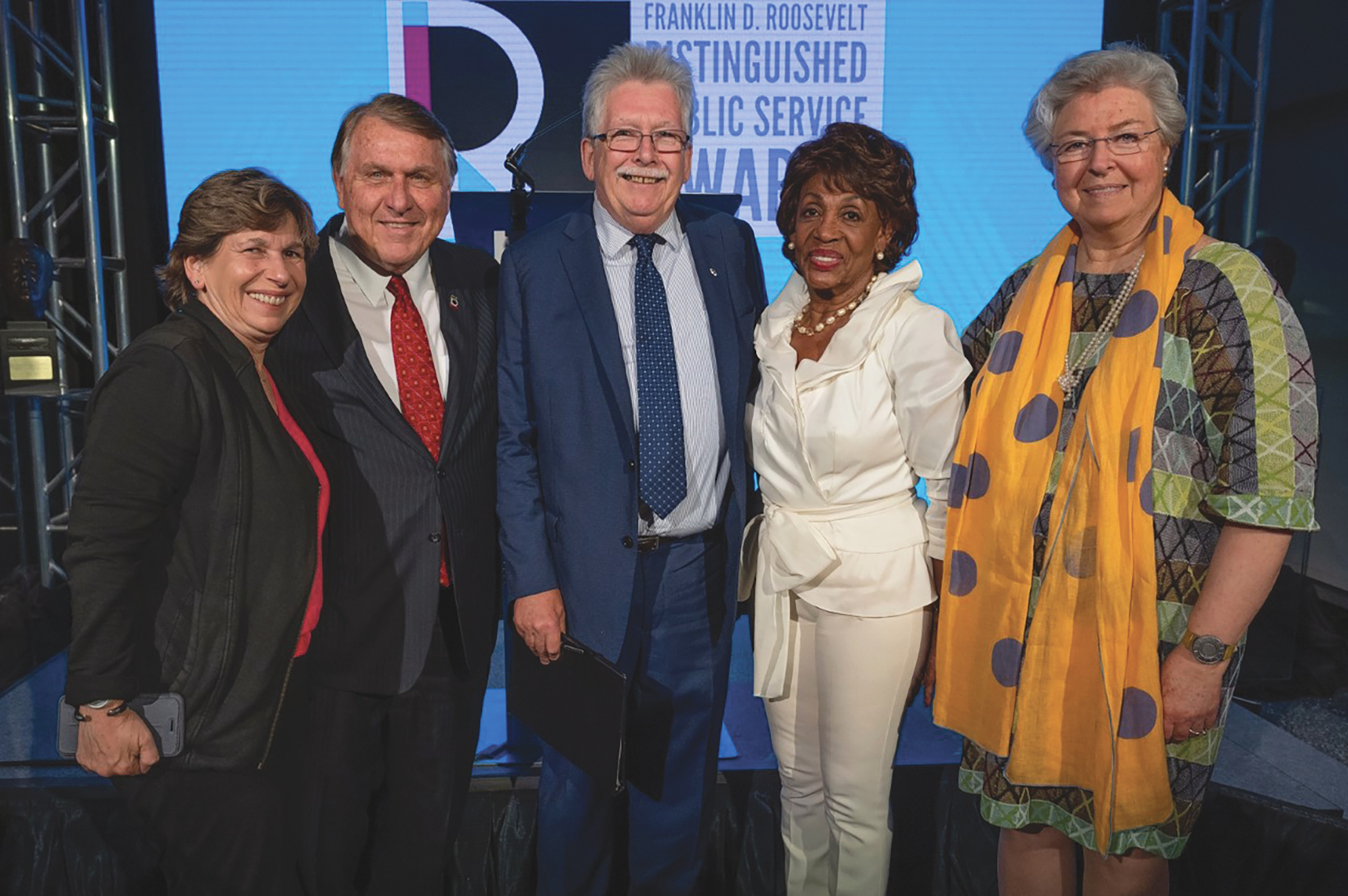 Rep. Maxine Waters (CA-43) with Randi Weingarten (AFT), James P. Hoffa (Teamsters), Christopher P. Shelton (CWA), and Anna Eleanor Roosevelt (Roosevelt Institute) at the 2019 Franklin D. Roosevelt Distinguished Public Service Awards.