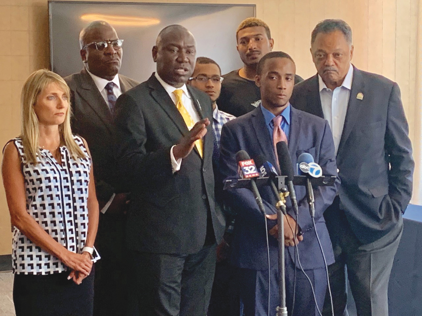 Shaquille Dukes' (center) along side Attorney Ben Crump (left) and Reverend Jesse Jackson (right) at Shaquille's press conference. (Courtesy photo)