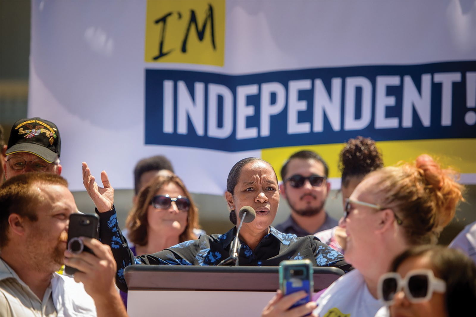 Kee Broussard an on demand delivery driver from the Los Angeles area at the State Capital rally July 16, 2019. (Courtesy Photo)