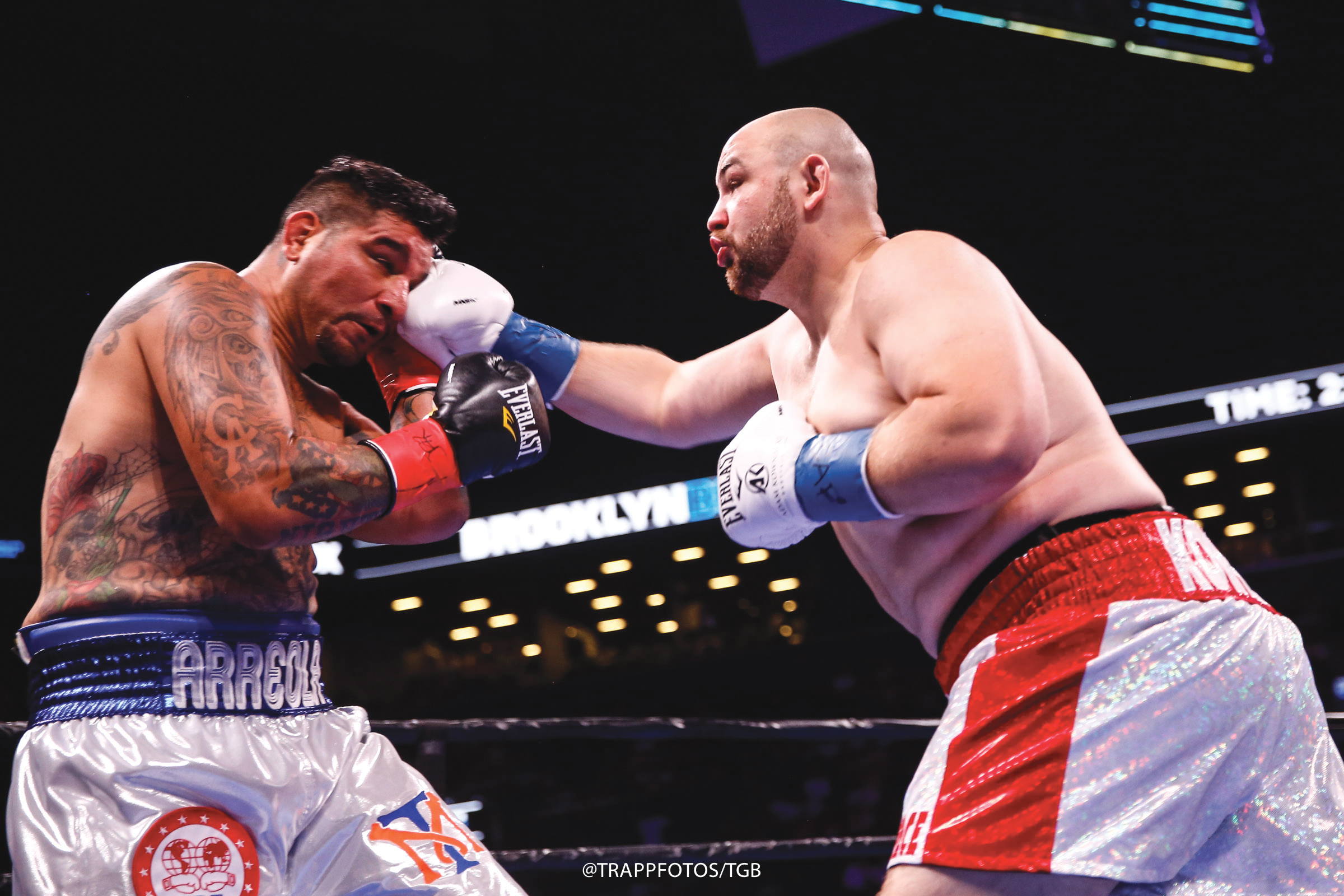 Kownacki connects with a strong right jab on Areola in Brooklyn. (Photo Credit: TrappPhotos.TGB)