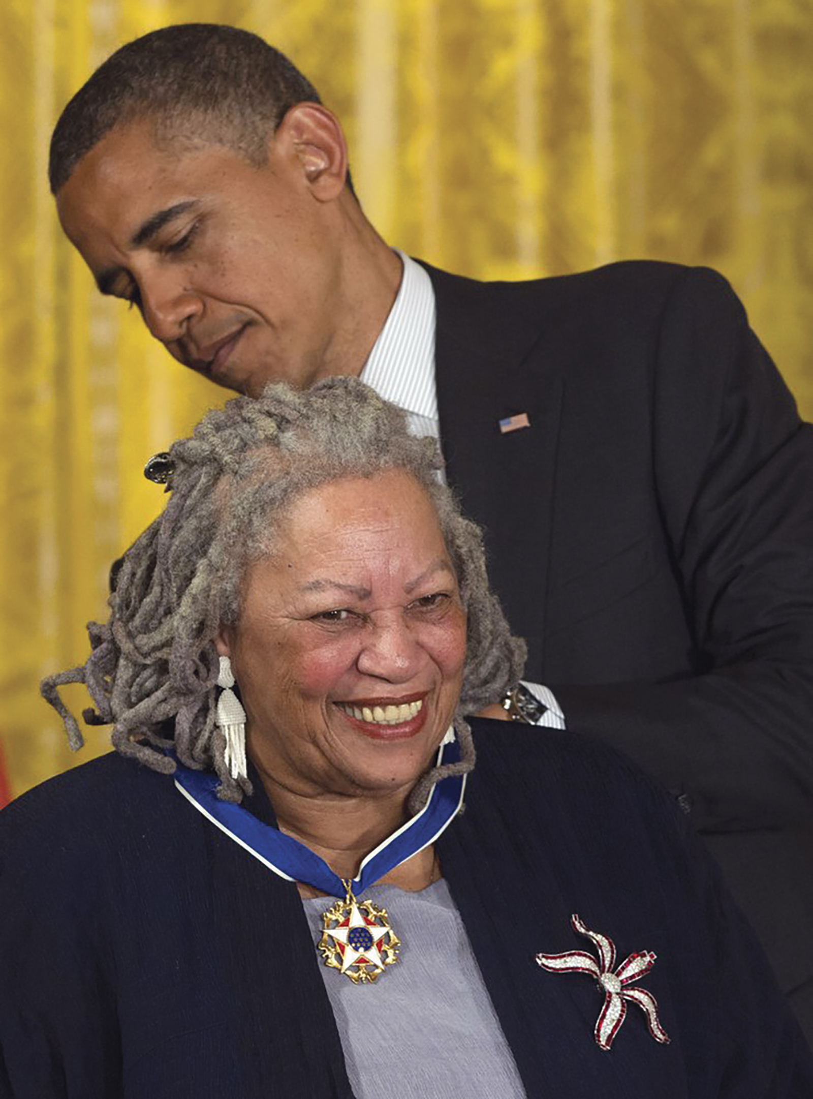 FILE - In this May 29, 2012 file photo President Barack Obama awards author Toni Morrison with a Medal of Freedom, during a ceremony in the East Room of the White House in Washington. The Nobel Prize-winning author has died. Publisher Alfred A. Knopf says Morrison died Monday, Aug. 5, 2019 at Montefiore Medical Center in New York. She was 88. (AP Photo/Carolyn Kaster, File)