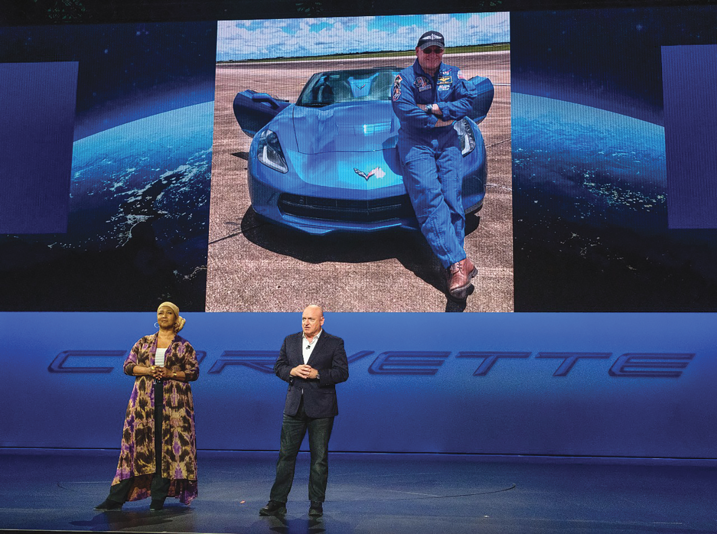 Former astronauts Dr. Mae Jemison and Capt. Scott Kelly address the gathering before the introduction of the 2020 Chevrolet Corvette Stingray Thursday, July 18, 2019 in Tustin, California. The 2020 Stingray, the brand's first-ever production mid-engine Corvette, features a new 6.2L Small Block V-8 LT2 engine producing 495 horsepower and 470 lb-ft of torque when equipped with performance exhaust. The 2020 Chevrolet Corvette Stingray goes into production in late 2019 and will start under $60,000. (Photo by Steve Fecht for Chevrolet)