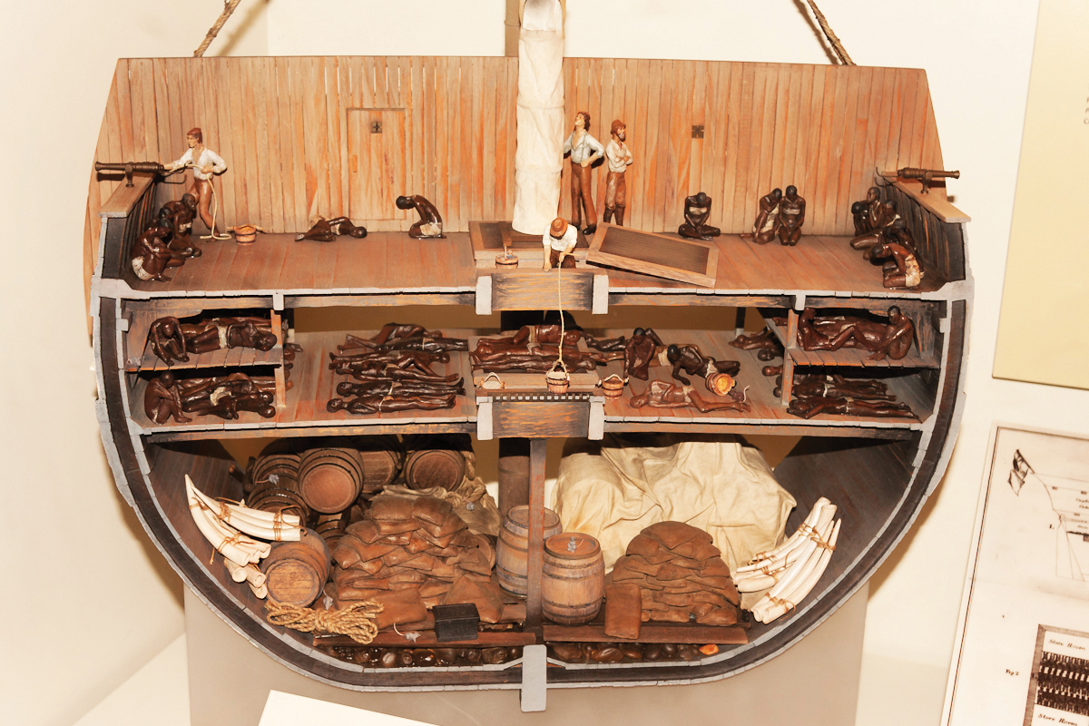This model shows a typical ship in the early 1700s on the Middle Passage. To preserve their profits, captains and sailors tried to limit the deaths of slaves from disease, suicide, and recolts. In the grisly arithmetic of the slave trade, captains usually chose between two options: pack in as many slaves as possible and hope that most survive, or put fewer aboard, improve the conditions between decks, and hope to lose fewer to disease. (Photo: Ken Lu ? Wikimedia Commons / This file is licensed under the Creative Commons Attribution 2.0 Generic license.)