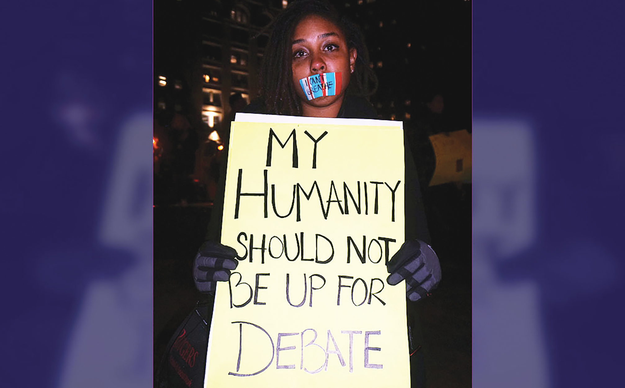 """The video of Garner begging for his life and repeating the words """"I can't breathe"""" eleven times, catapulted the case into the national spotlight and made it an often-mentioned example of police brutality. (Photo: Eric Garner Protest 4th December 2014, Manhattan, NYC. This image was originally posted to Flickr by The All-Nite Images at https://flickr.com/photos/7278633@N04/15327384664. It was reviewed on 6 November 2015 by FlickreviewR and was confirmed to be licensed under the terms of the cc-by-sa-2.0.)"""