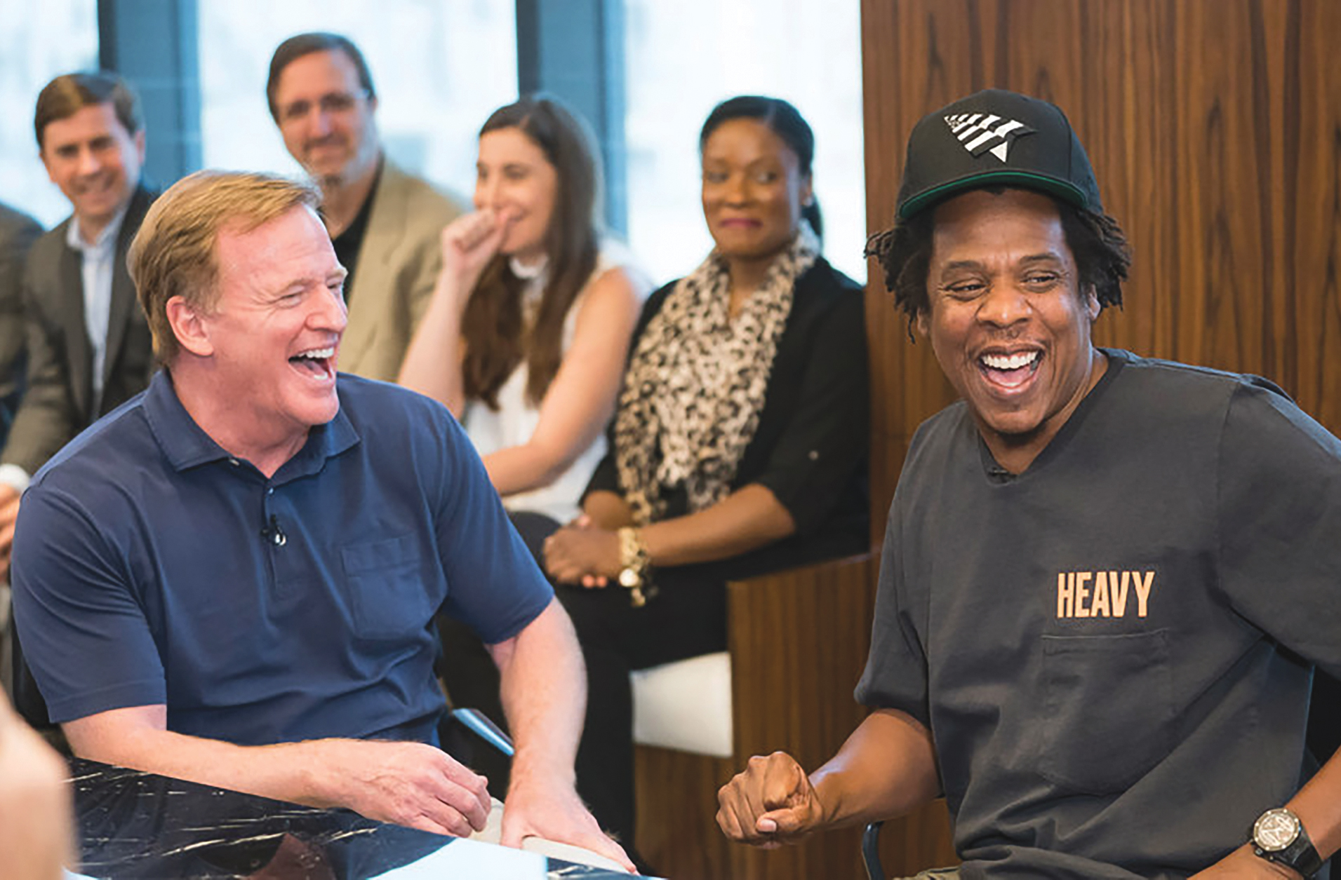 NFL commissioner Roger Goodell and Jay-Z greet each other last week at Roc Nation in New York City. (Photo Credit Kevin Mazur Getty Images for Roc Nation)