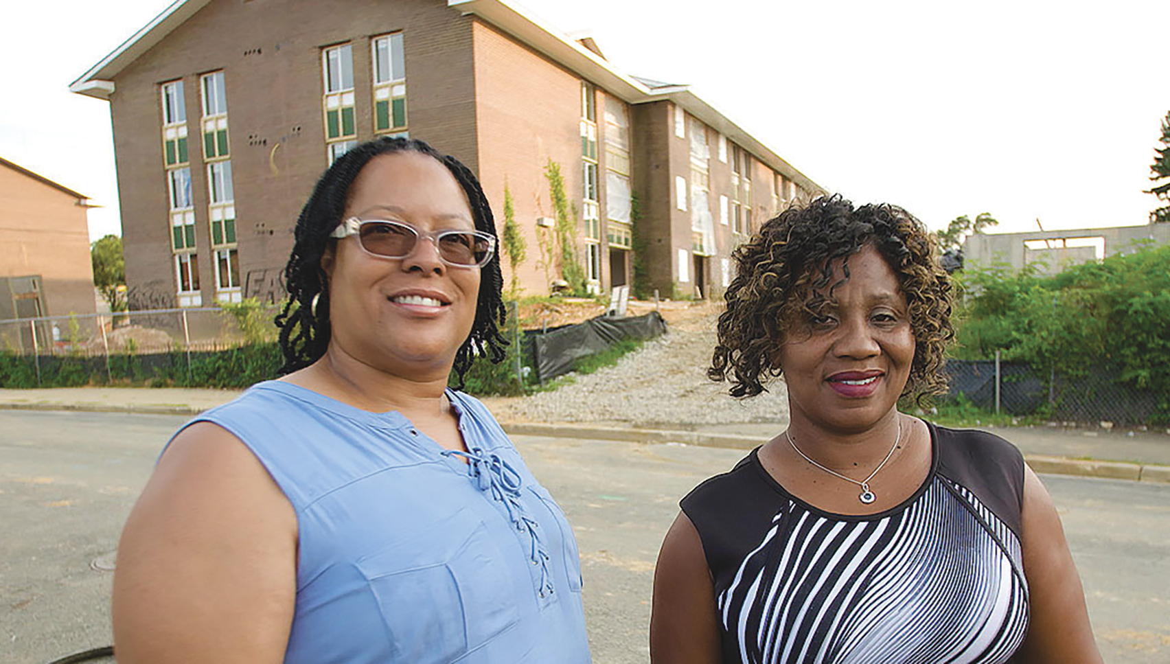 Cynthia Eaglin and Rufaro Jenkins in front of their former home at Parkway Overlook Apartments in Washington, D.C. (Courtesy Photo)