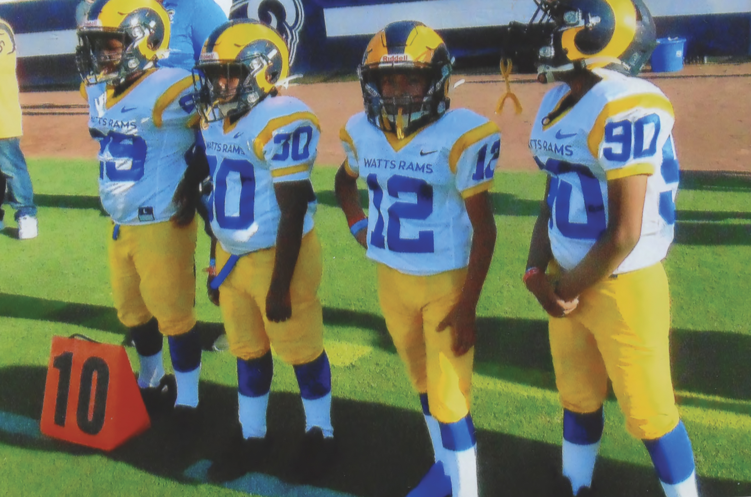Watts Rams enjoy sites after playing on the Coliseum field. (Earl Heath Photo)