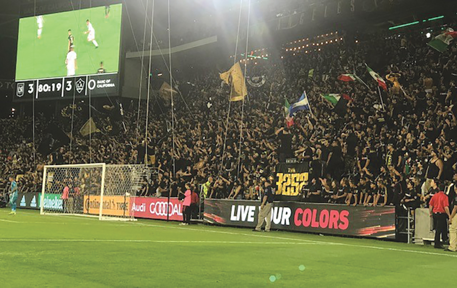 3252 cheers on LAFC during their match with their cross town rival Galaxy August 25th. (Photo Credit V.O.F)