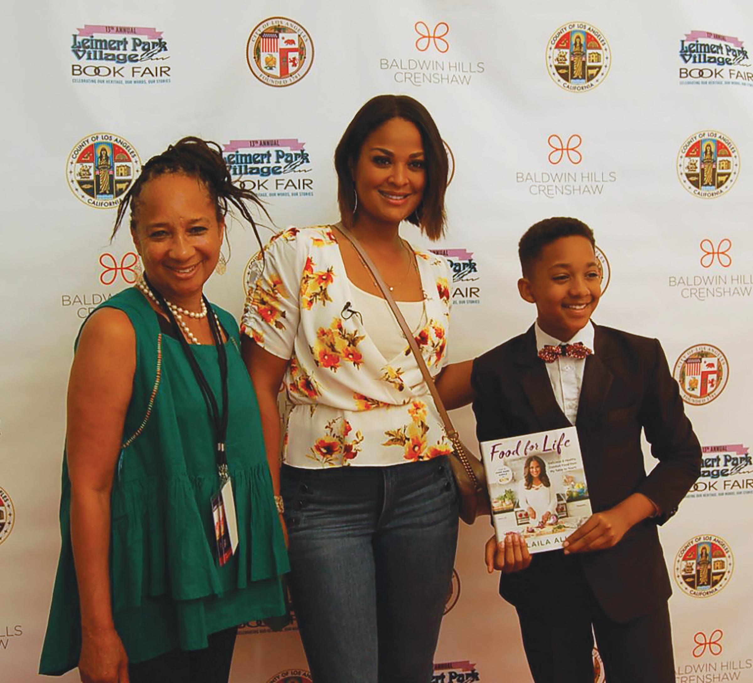 Cynthia Exum, Founder and Executive Director (Leimert Park Village Book Fair, Laila Ali and Brandin Stennis, Actor/Host (Courtesy Photo)