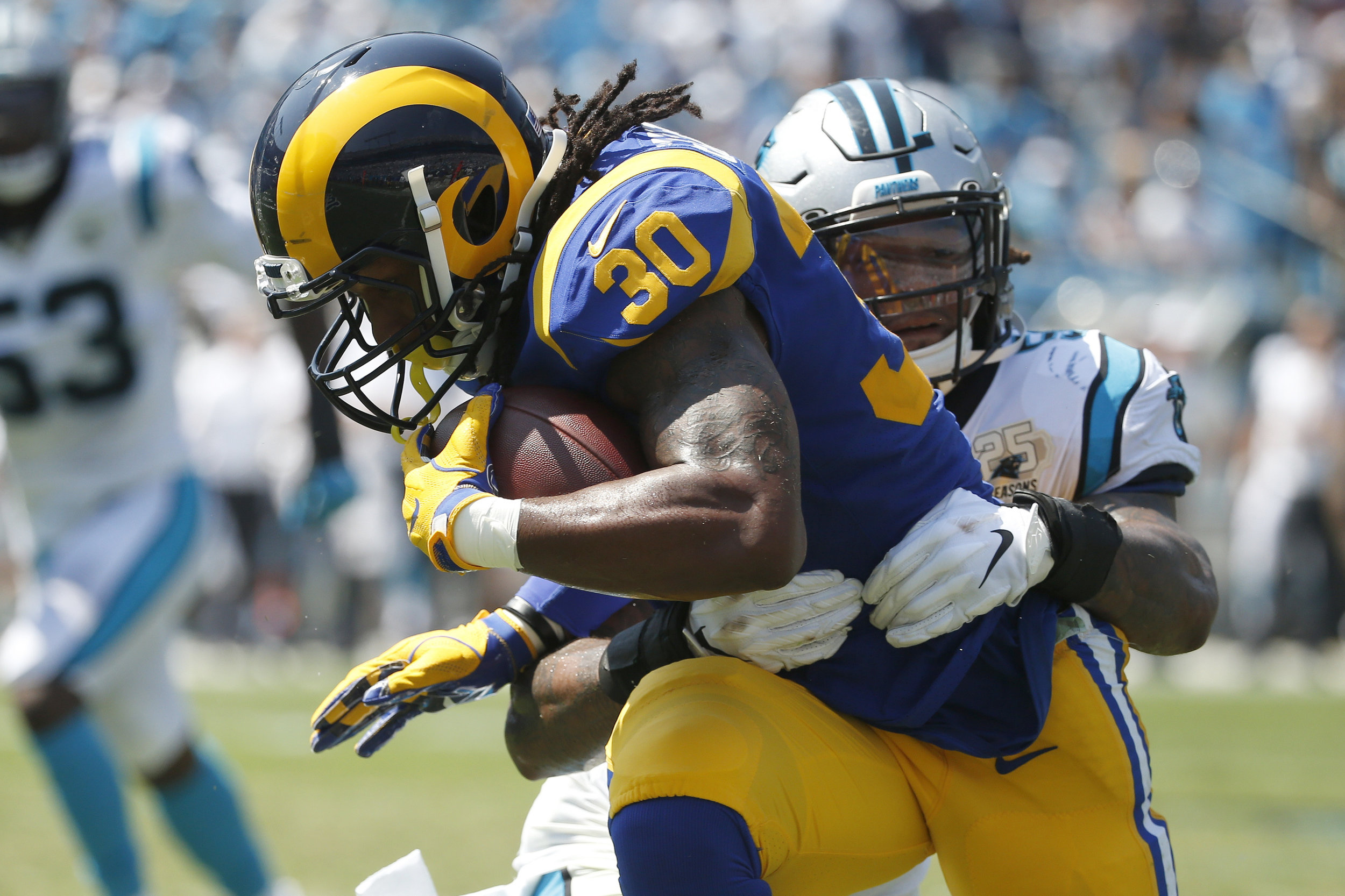Gurley Fights For Extra Yards Against Carolina Panthers on Rams Opening Day (Bing Photos)