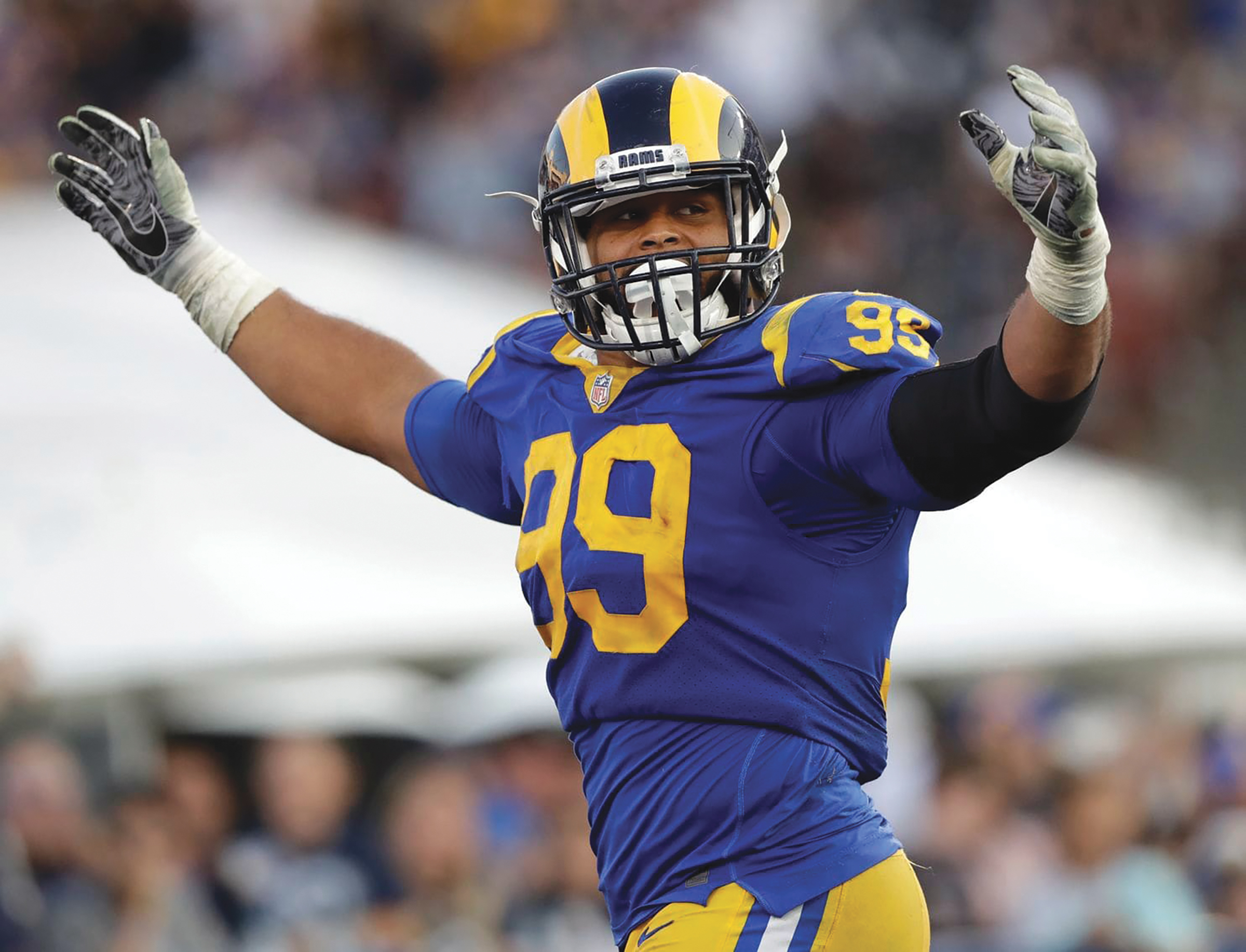 Aaron Donald is an overwhelming favorite to win his second straight defensive player of the year award. (Alex Gallardo Photo)