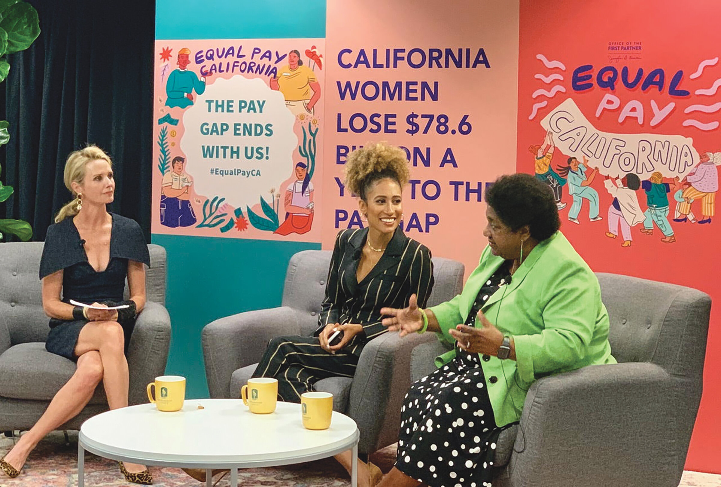 First Partner Jennifer Seibel Newsom moderates a panel with the youngest editor-and-chief of Teen Vogue Elaine Welteroth and Legislative Black Caucus Chair, Assemblymember Shirley Weber (D-San Diego) to discuss real life experiences affecting women and African American women on pay equity at Sacramento State University Aug 27, 2019. (CBM Photo)