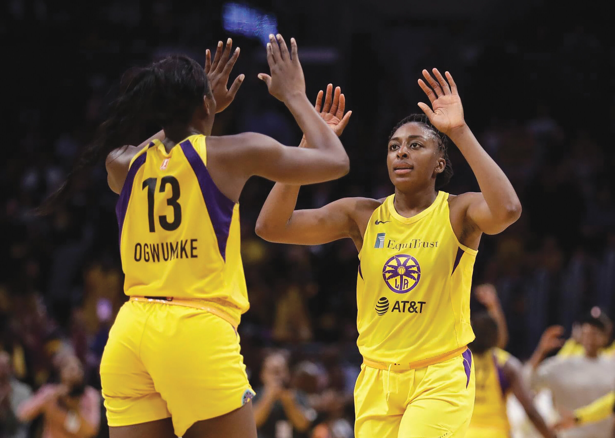 Nneka Ogwumike celebrates with her sister during the WNBA playoffs. (Courtesy Photo)