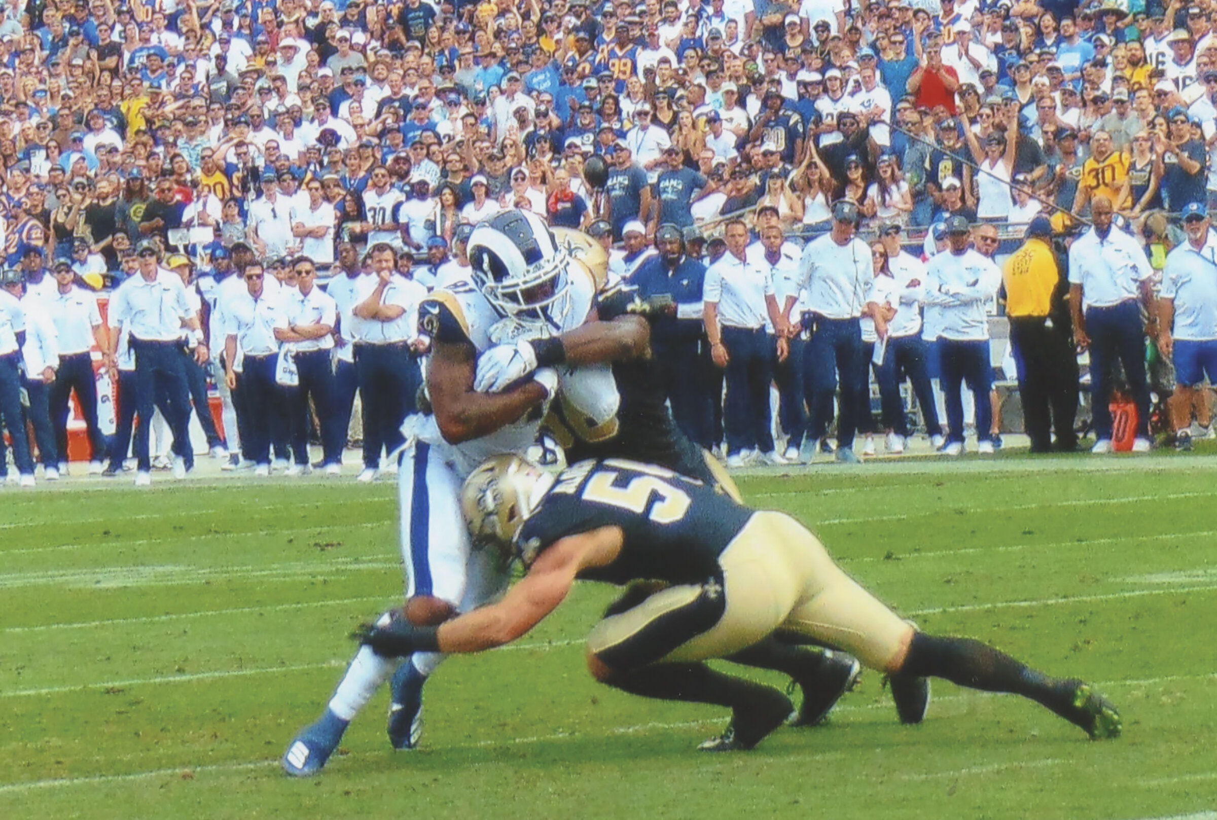 Rams Gerald Everett (81) fights for yards after one of his three catches. (Photo Credit: Earl Heath)